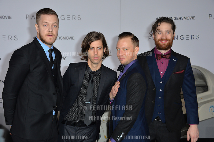 Musicians Imagine Dragons - Dan Reynolds, Daniel Wayne Sermon, Ben McKee &amp; Daniel Platzman - at the world premiere of &quot;Passengers&quot; at the Regency Village Theatre, Westwood. <br /> December 14, 2016<br /> Picture: Paul Smith/Featureflash/SilverHub 0208 004 5359/ 07711 972644 Editors@silverhubmedia.com