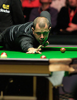 Barry Hawkins pots a red during the Dafabet Masters FINAL between Barry Hawkins and Ronnie O'Sullivan at Alexandra Palace, London, England on 17 January 2016. Photo by Liam Smith / PRiME Media Images