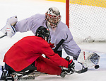 PyeongChang 8/3/2018 - Dominic Larocque (#31), of Quebec City, QC, makes a save on Dominic Cozzolino (#19), of Mississauga, ON, as Canada's sledge hockey team practices ahead of the start of competition at the Gangneung practice venue during the 2018 Winter Paralympic Games in Pyeongchang, Korea. Photo: Dave Holland/Canadian Paralympic Committee