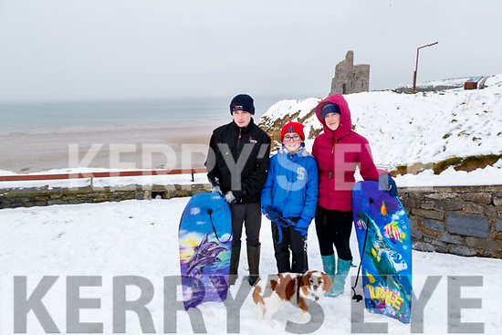 Andrew, Dara and Sarah O'Connor  with their dog Jasperin the snow in Ballybunnion on Friday.