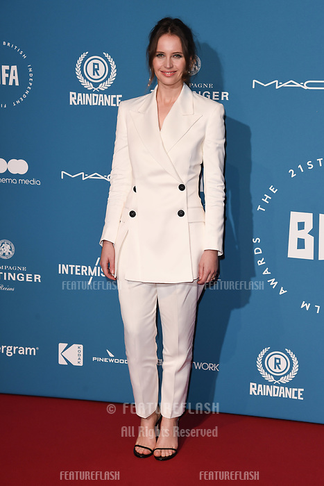 LONDON, UK. December 02, 2018: Felicity Jones at the British Independent Film Awards 2018 at Old Billingsgate, London.<br /> Picture: Steve Vas/Featureflash