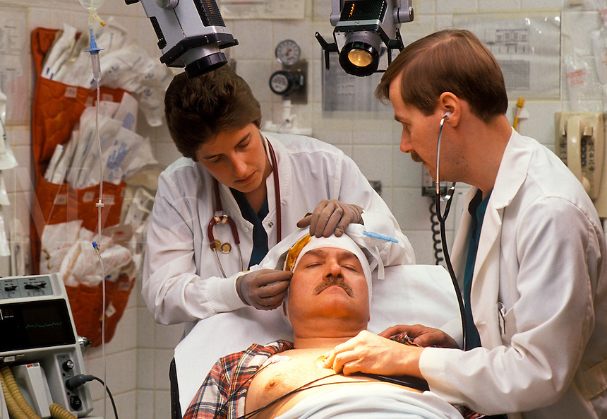 Head injury in a hospital emergency room.