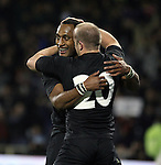 Joe Rokocoko celebrates with Brendon Leonard. All Blacks v South Africa. International Tri Nations Rugby. Jade Stadium, Christchurch, New Zealand. Saturday 14 July 2007. Photo: Marc Weakley