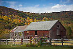 Fall foliage and an old barn in Kent, CT, USA