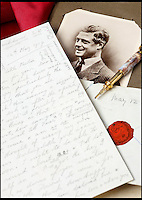 BNPS.co.uk (01202) 558833<br /> Picture: Fellows/BNPS<br /> <br /> Edward VIII was more concerned with cavorting with his first mistress than attending a family opera trip, a gushing love letter from the controversial Royal has revealed.<br /> <br /> Edward scribbled the sickeningly sweet two-page note to married socialite Freda Dudley Ward in 1919 when he was just 25, long before he met Wallace Simpson.<br /> <br /> It is now tipped to fetch &pound;1,800 when it goes under the hammer at Birmingham's Fellows auctioneers.