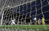 Liam Sercombe of Oxford United scores his goal past Goalkeeper Matt Ingram of Wycombe Wanderers during the Sky Bet League 2 match between Wycombe Wanderers and Oxford United at Adams Park, High Wycombe, England on 19 December 2015. Photo by Andy Rowland.