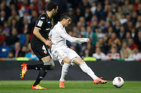 08.04.2012 SPAIN -  La Liga matchday 32th  match played between Real Madrid CF vs Valencia (0-0) and falls to 4 points behind Barcelona, at Santiago Bernabeu stadium. The picture show Adil Rami  (Defender of Valencia) and  Cristiano Ronaldo (Portuguese forward of Real Madrid)