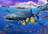 Interlitho, Lorenzo, REALISTIC ANIMALS, paintings, sharks, fish(KL4194,#A#) realistische Tiere, realista, illustrations, pinturas ,puzzles