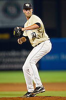 Wake Forest Demon Deacons relief pitcher Justin Van Grouw #30 in action against the Miami Hurricanes at NewBridge Bank Park on May 25, 2012 in Winston-Salem, North Carolina.  The Hurricanes defeated the Demon Deacons 6-3.  (Brian Westerholt/Four Seam Images)