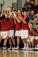 STANFORD, CA - JANUARY 29:  Sarah Boothe and Michelle Harrison of the Stanford Cardinal during Stanford's 81-53 win over the USC Trojans on January 29, 2009 at Maples Pavilion in Stanford, California.