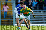 Mark Griffin South Kerry in action against Tom Hoare  Kerins O'Rahillys in the Kerry Senior Football Championship Semi Final at Fitzgerald Stadium on Saturday.