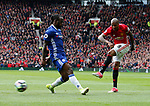 Ashley Young of Manchester United fires in a shot past Victor Moses of Chelsea during the English Premier League match at Old Trafford Stadium, Manchester. Picture date: April 16th 2017. Pic credit should read: Simon Bellis/Sportimage