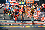 Tiesj Benoot (BEL) Lotto Soudal and Robert Gesink (NED) Lotto NL-Jumbo cross the finish line of the 2018 Liège - Bastogne - Liège (UCI WorldTour), Belgium, 22 April 2018, Photo by Thomas van Bracht / PelotonPhotos.com