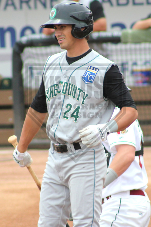 Appleton - JULY 2011: Brett Eibner (24) of the Kane County Cougars, Class-A affiliate of the Kansas City Royals during a game on July 7, 2011 at Time Warner Cable Field at Fox Cities Stadium in Appleton, Wisconsin. (Photo by Brad Krause).....