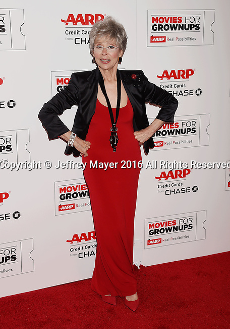 BEVERLY HILLS, CA - FEBRUARY 08: Actress Rita Moreno attends AARP's Movie For GrownUps Awards at the Regent Beverly Wilshire Four Seasons Hotel on February 8, 2016 in Beverly Hills, California.