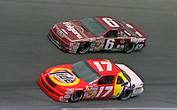 Darrell Waltrip, Chevrolet (17) and Mark Martin, Ford (6)race side by side during the Daytona 500, Daytona INternational Speedway, Daytona Beach, FL, February 18, 1990.  (Photo by Brian Cleary/www.bcpix.com)
