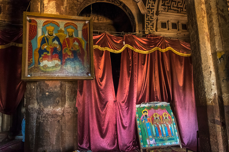 Regarded by many to be he finest rock-hewn church in Tigrai, the church was partially free-cut from the sandstone cliff.  Well-preserved and beautifully executed murals are relatively recent and depict a complete history of the Ehthiopian church.  The church was excavated in 335-40 AD.