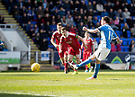 St Johnstone v Aberdeen&hellip;15.04.17     SPFL    McDiarmid Park<br />Danny Swanson scores from the penalty spot<br />Picture by Graeme Hart.<br />Copyright Perthshire Picture Agency<br />Tel: 01738 623350  Mobile: 07990 594431