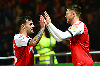 Fleetwood Town's Wes Burns celebrates scoring his side's second goal wit his team-mate Ross Wallace (L)<br /> <br /> Photographer Richard Martin-Roberts/CameraSport<br /> <br /> The EFL Sky Bet League One - Fleetwood Town v Coventry City - Tuesday 27th November 2018 - Highbury Stadium - Fleetwood<br /> <br /> World Copyright &not;&copy; 2018 CameraSport. All rights reserved. 43 Linden Ave. Countesthorpe. Leicester. England. LE8 5PG - Tel: +44 (0) 116 277 4147 - admin@camerasport.com - www.camerasport.com