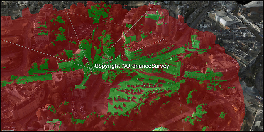 BNPS.co.uk (01202 558833)<br /> Pic: OrdnanceSurvey/BNPS<br /> <br /> The maps reveal the obstructions to phone signals (in green) from any given point.<br /> <br /> Bournemouth set to lead the 5G revolution...<br /> <br /> A world first 5G initiative taking place in Britain is set to make flaky mobile connections a thing of the past. <br /> <br /> The Ordnance Survey is developing a planning and mapping tool vital to the national rollout of the next generation of wireless communications. <br /> <br /> Bournemouth in Dorset is the guinea pig for a 'digital twin' of the real world, which will be used to determine prime locations to place radio antennae to discover what inhibits the 5G technology from being able to communicate.