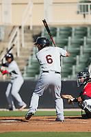 Marcus Greene Jr. (6) of the Hickory Crawdads at bat against the Kannapolis Intimidators at CMC-Northeast Stadium on May 21, 2015 in Kannapolis, North Carolina.  The Intimidators defeated the Crawdads 2-0 in game one of a double-header.  (Brian Westerholt/Four Seam Images)