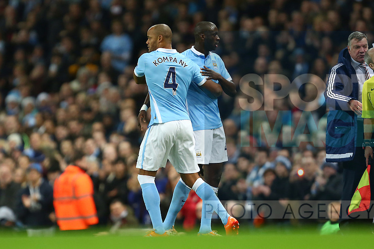 Vincent Kompany of Manchester City substitutes for Yaya Toure - Manchester City vs Sunderland - Barclays Premier League - Etihad Stadium - Manchester - 26/12/2015 Pic Philip Oldham/SportImage
