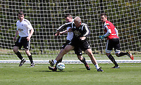 Pictured: Alan Curtis challenged by Chris Barney Thursday 21 May 2015<br />