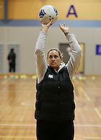 03.07.2014 Silver Fern Cathrine Latu in action during the Silver Ferns netball training session at the AUT in Auckland. Mandatory Photo Credit ©Michael Bradley.