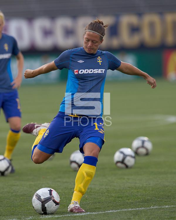 Sweden defender Lina Nilsson (13). The US Women's national team beat Sweden, 3-0, at Rentschler Field on July 17, 2010.