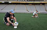 Nick Evans (L) and Luke McAlister. All Blacks kickers session, Eden Park, Auckland. July 18 2007.