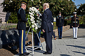 United States President Donald J. Trump, center, pauses after laying a wreath during a ceremony to commemorate the September 11, 2001 terrorist attacks, at the Pentagon in Washington, D.C., U.S., on Monday, Sept. 11, 2017. Trump is presiding over his first 9/11 commemoration on the 16th anniversary of the terrorist attacks that killed nearly 3,000 people when hijackers flew commercial airplanes into New Yorkís World Trade Center, the Pentagon and a field near Shanksville, Pennsylvania. <br /> Credit: Andrew Harrer / Pool via CNP