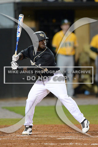 Central Florida Knights outfielder Erik Barber (10) during the season opening game against the Siena Saints at Jay Bergman Field on February 14, 2014 in Orlando, Florida.  UCF defeated Siena 8-1.  (Copyright Mike Janes Photography)