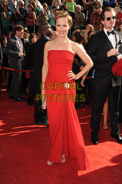 MELORA HARDIN .The 60th Annual Primetime Emmy Awards held at The Nokia Theatre in Los Angeles, California, USA, .September 21st 2008.     .emmys red carpet arrivals full length strapless dress dress hand on hip.CAP/DVS.©Debbie VanStory/Capital Pictures