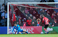 Lincoln City's Matt Gilks, left, and Lincoln City's Harry Toffolo react after Cheltenham Town's George Lloyd scored his side's equalising goal to make the score 1-1<br /> <br /> Photographer Chris Vaughan/CameraSport<br /> <br /> The EFL Sky Bet League Two - Lincoln City v Cheltenham Town - Saturday 13th April 2019 - Sincil Bank - Lincoln<br /> <br /> World Copyright © 2019 CameraSport. All rights reserved. 43 Linden Ave. Countesthorpe. Leicester. England. LE8 5PG - Tel: +44 (0) 116 277 4147 - admin@camerasport.com - www.camerasport.com