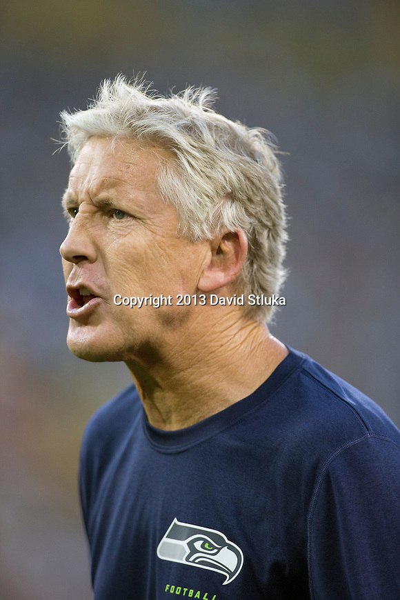 Seattle Seahawks head coach Pete Carroll argues with an official during an NFL preseason week 3 football game against the Green Bay Packers Thursday, August 23, 2013, in Green Bay, Wis. The Seahawks won 17-10 . (Photo by David Stluka)