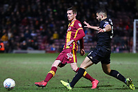 Matthew Lund of Bradford City and Samy Morsy of Wigan during the Sky Bet League 1 match between Bradford City and Wigan Athletic at the Northern Commercial Stadium, Bradford, England on 14 March 2018. Photo by Thomas Gadd.