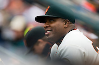 19 April 2007: Giants' Barry Bonds is seen in the dugout during the San Francisco Giants 6-2 victory over the St. Louis Cardinals at the AT&T stadium in San Francisco, CA.