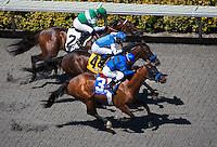 August 26, 2012. Den's Legacy by Medaglia d'Oro breaks his maiden under Rafael Bejarano at Del Mar Thoroughbred Club in Del Mar, CA..