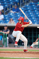 Clearwater Threshers center fielder Adam Haseley (17) at bat during a game against the Jupiter Hammerheads on April 9, 2018 at Spectrum Field in Clearwater, Florida.  Jupiter defeated Clearwater 9-4.  (Mike Janes/Four Seam Images)