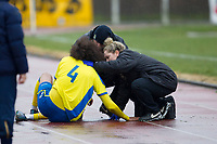 Quba Gordon of Haringey Borough was an early injury casualty during AFC Hornchurch vs Haringey Borough, Bostik League Division 1 North Football at Hornchurch Stadium on 10th February 2018