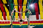 Florida State University's Flying High Circus is an extra-curricular activity for students. Every summer the circus moves to Pine Mountain, Georgia to Callaway Gardens, where the FSU students perform for crowds under a Big Top six times a week. ..Jerrika Trammell, Lauren Taylor and Sosie Quarrie practice before a performance on July 28, 2012.