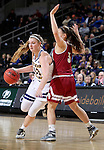 SIOUX FALLS, SD: MARCH 4: Morgan Blumer #12 from Western Illinois drives against Lauren Loven #3 from Denver on March 4, 2017 during the Summit League Basketball Championship at the Denny Sanford Premier Center in Sioux Falls, SD. (Photo by Dave Eggen/Inertia)