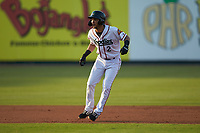 Anderson Tejeda (2) of the Down East Wood Ducks takes his lead off of second base against the Winston-Salem Dash at Grainger Stadium Field on May 17, 2019 in Kinston, North Carolina. The Dash defeated the Wood Ducks 8-2. (Brian Westerholt/Four Seam Images)
