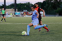 Rochester, NY - Friday July 01, 2016: Chicago Red Stars defender Samantha Johnson (16), Western New York Flash forward Jessica McDonald (14) during a regular season National Women's Soccer League (NWSL) match between the Western New York Flash and the Chicago Red Stars at Rochester Rhinos Stadium.