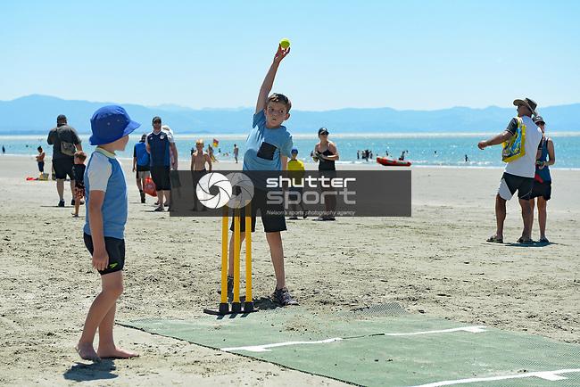 NELSON, NEW ZEALAND January 6: Beach Cricket with the Blackcaps, Tahuna Beach, Nelson, New Zealand. Sunday 6 January 2019 (Photos by: Barry Whitnall Photography