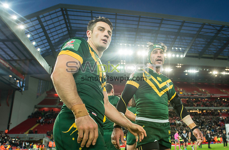 Picture by Allan McKenzie/SWpix.com - 20/11/2016 - Rugby League - 2016 Ladbrokes Four Nations Final - Australia v New Zealand - Anfield, Liverpool, England - Australia's Cooper Cronk & Jonathan Thurston after their side defeated New Zealand in the Ladbrokes 4 Nations final.