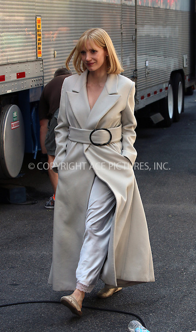 ACEPIXS.COM<br /> <br /> July 9 2014, New York City<br /> <br /> Actress Jessica Chastain was on the set of the new movie 'A Most Violent Year' on July 9 2014 in New York City<br /> <br /> <br /> By Line: Zelig Shaul/ACE Pictures<br /> <br /> ACE Pictures, Inc.<br /> www.acepixs.com<br /> Email: info@acepixs.com<br /> Tel: 646 769 0430