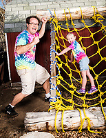 Gavin MacCall and his daughter Lylah MacCall (age 5) on their home built obstacle course in North Glenn, Colorado, Wednesday, February 8, 2017. Gavin turned their backyard into an American Ninja Warrior &quot;mini-Ninja&quot; course.<br /> <br /> Photo by Matt Nager