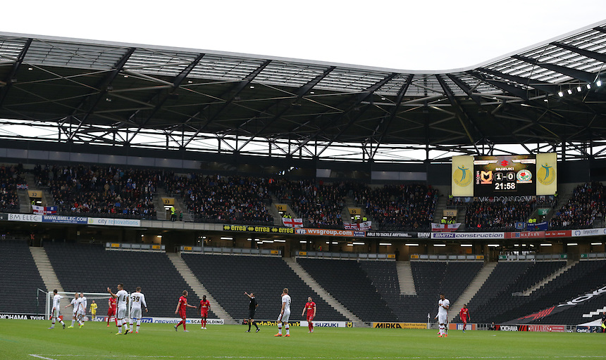 A general view of Stadium: MK, home of Milton Keynes Dons showing the traveling Blackburn Rovers support<br /> <br /> Photographer Stephen White/CameraSport<br /> <br /> Football - The Football League Sky Bet Championship - Milton Keynes Dons v Blackburn Rovers - Saturday 17th October 2015 - Stadium:mk, Milton Keynes<br /> <br /> &copy; CameraSport - 43 Linden Ave. Countesthorpe. Leicester. England. LE8 5PG - Tel: +44 (0) 116 277 4147 - admin@camerasport.com - www.camerasport.com