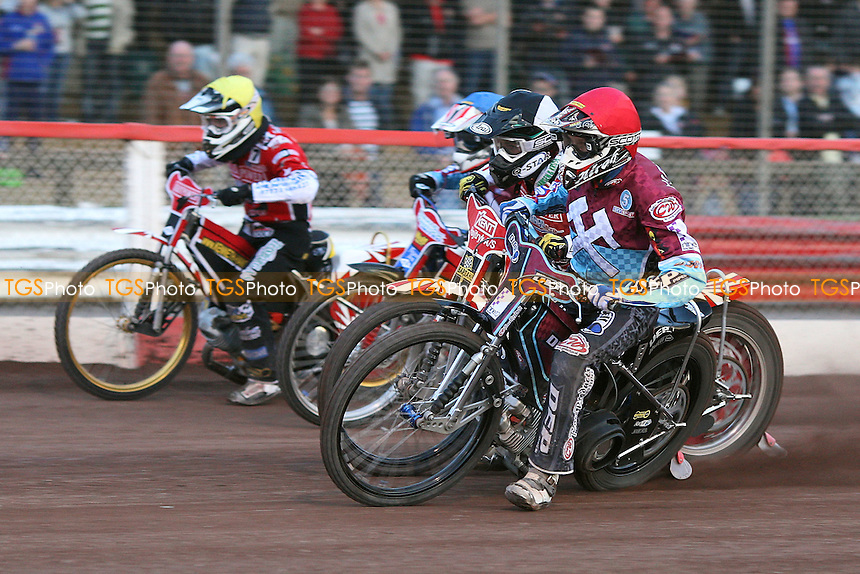 Heat 11: Niels Kristian Iversen (tactical), Kauko Nieminen (red), Phil Morris (blue) and Ales Dryml - Lakeside Hammers vs Peterborough Panthers - Sky Sports Elite League Speedway at Arena Essex Raceway - 19/06/09- MANDATORY CREDIT: Gavin Ellis/TGSPHOTO - Self billing applies where appropriate - 0845 094 6026 - contact@tgsphoto.co.uk - NO UNPAID USE.